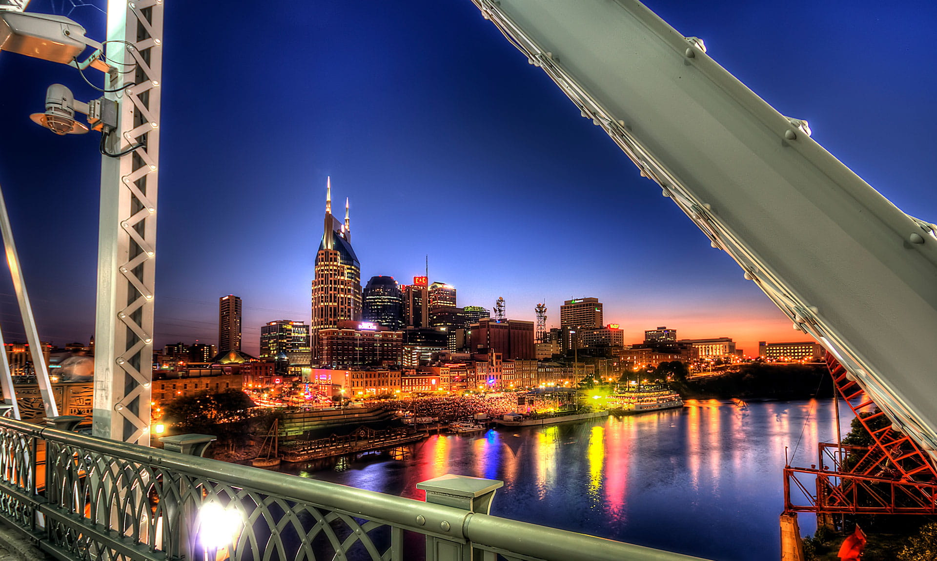Tennessee Cityscape Waterfront Night